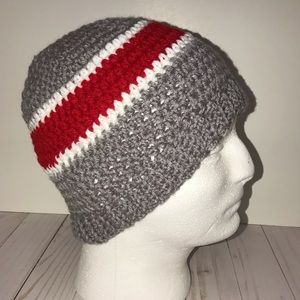 Red, Gray and White Beanie